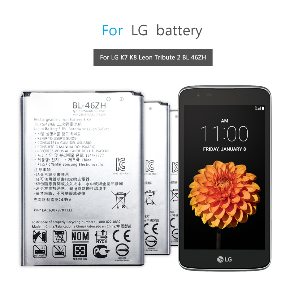 BL-46ZH Mobile Phone Battery For LG K7 K8 Tribute 5 AS330 K332 K350N K371 K373 K8V K89 LS675 LS675 M1 M1V MS330 US375 X21