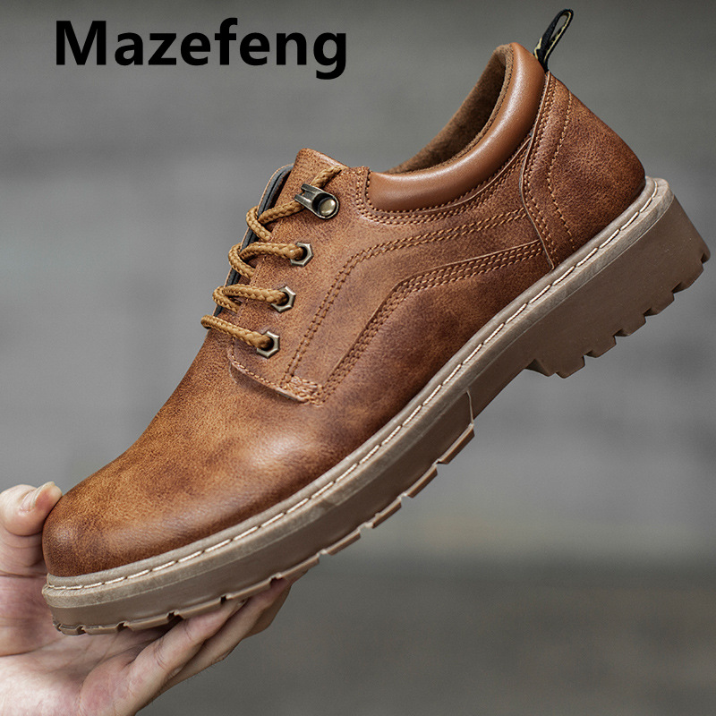Mazefeng 2019 New Men Casual Leather Shoes Men Martins Leather Shoes Work Safety Shoes Winter Waterproof Ankle Botas Lace-Up