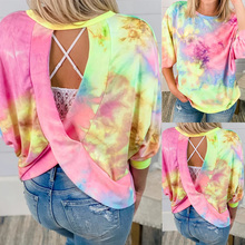 Women Fashion Puff Sleeve Round Neck Tie-dye Printed Backless Hoodie Female Summer Casual Three Quarter Sleeve Loose Top Q30