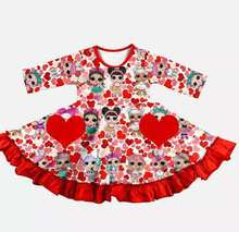 Heißer verkauf mädchen valentinstag kleid halbarm cartoon charakter druck twirly kleid