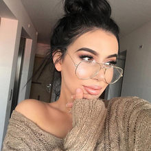 Fashion Band Clear Lens Glasses Alloy Gold Frame Goggles Classic Optics Eyeglasses Transparent Clear Lens Women Men Fake Glasses(China)