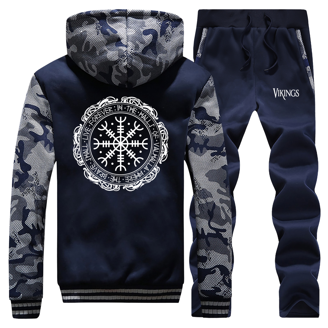 Viking Valhalla Print Tracksuit Men Warm Set Thick Camouflage Hoodies Sweatshirt Suit Fashion Winter Jacket+Pants 2 Piece Sets