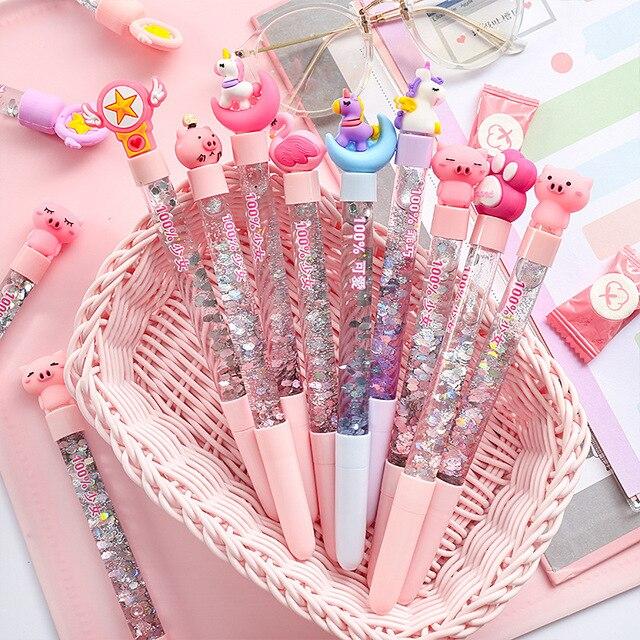 1pc Cute Fairy Pen Creative Quicksand Sequins Unicorn Flamingos Pig Moon Cat Claw Dinosaur Gel Pen Novelty Stationery Supply 2