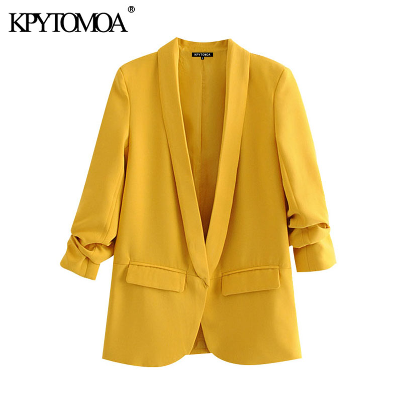 KPYTOMOA Women 2020 Fashion Office Wear Basic Blazers Coat Vintage Pleated Long Sleeve Pockets Female Outerwear Chic Tops