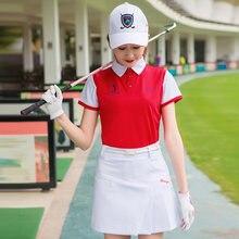 Летняя женская одежда для гольфа цветная футболка с коротким