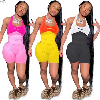 цена на S-5XL Women Halter Neck Open Back So Real Letter Patchwork Bodycon Sleeveless Bodysuits Sexy Playsuits Rompers Clubwear Overalls