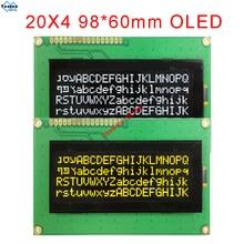 20x4 2004 oled תצוגת רוסית אירופאי אנגלית יפני גופן SPI IIC I2C 98*60mm מודול 3.3v 5v צהוב לבן 16pin LEC2041