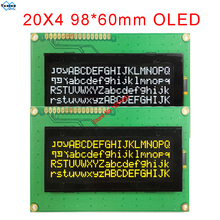 20x4 2004 oled display Russian European English Japanese font SPI IIC I2C 98*60mm  module 3.3v 5v yellow  white  16pin LEC2041