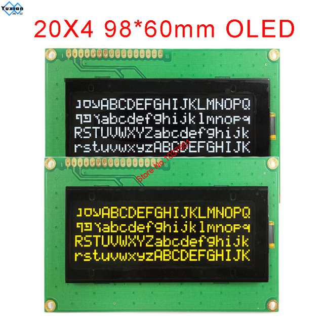20x4 2004 oled ekran rus avrupa İngilizce japon yazı SPI IIC I2C 98*60mm modülü 3.3v 5v sarı beyaz 16pin LEC2041