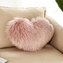 40 * 50cm Heart Shaped Faux Wool Fur Cushion Covers Fluffy Soft Plush Throw Pillow Cover Pillowcase Home Sofa Decoration 20JAN19(China)