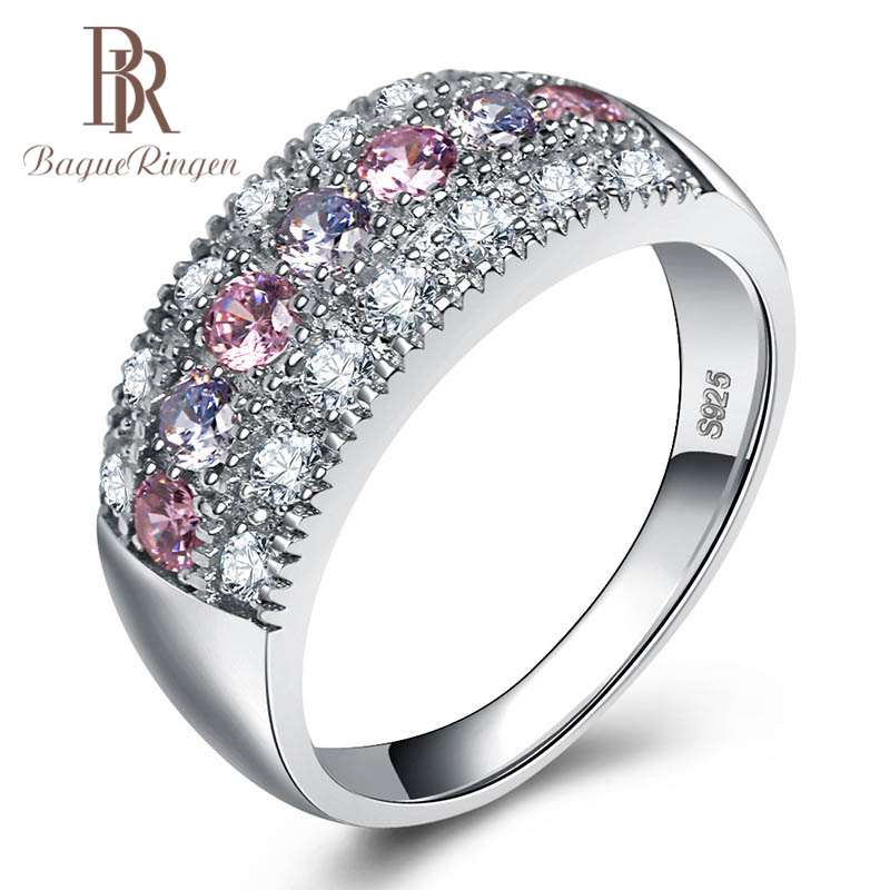 Bague Ringen Trendy Silver 925 Jewelry Gemstones Ring For Women AAA Zircon Pink Purple Bohemia Style Size5,6,7,8,9,10 Party Gift