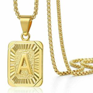 A-Z 26 Initials Pendant Letter Necklace For Women Men Vintage Gold Square Alphabet Charm Box Link Chain Jewelry Free Shipping