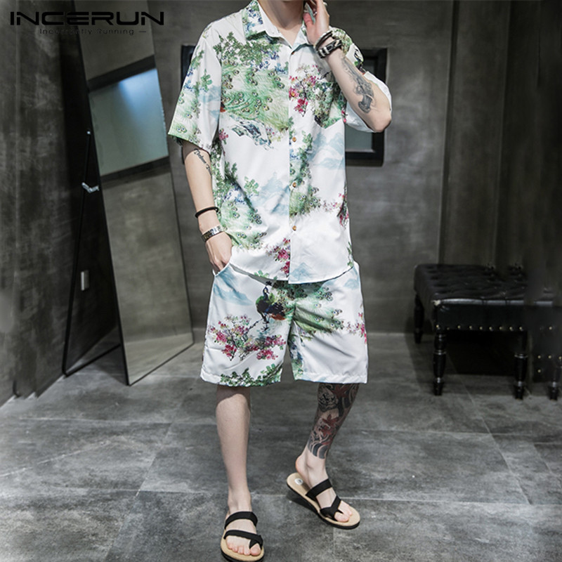 2020 Men Sets Ethnic Style Printed Short Sleeve Vintage Streetwear Lapel Shirt Summer Loose Shorts Men Suit 2 Pieces INCERUN 5XL
