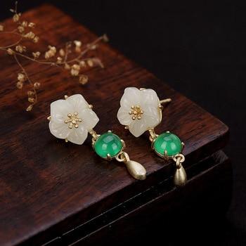 Palace Restoring Ancient Ways Is The Plum Blossom Hetian Jade Pendant Long In High-grade Ladies Earrings Fine Earrings