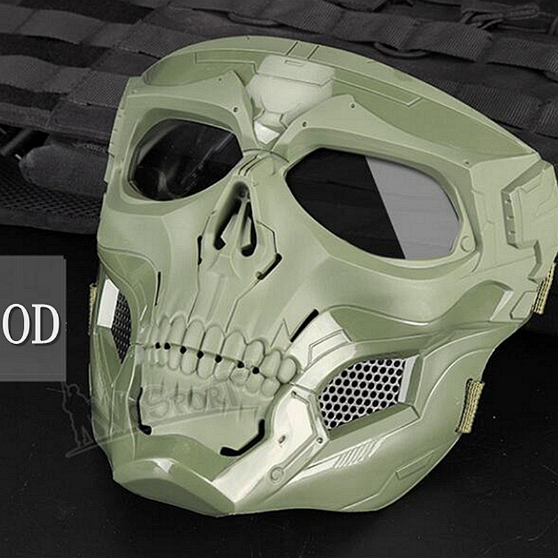 Новая тактическая страйкбольная маска с черепом, Пейнтбольная Военная Боевая полная защитная маска, скелет CS, игра, защитная маска для лица - Цвет: green