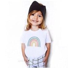 1-12y estilo casual criança verão t camisa branco bebê manga curta camiseta da criança arco-íris t menino menina roupas à moda
