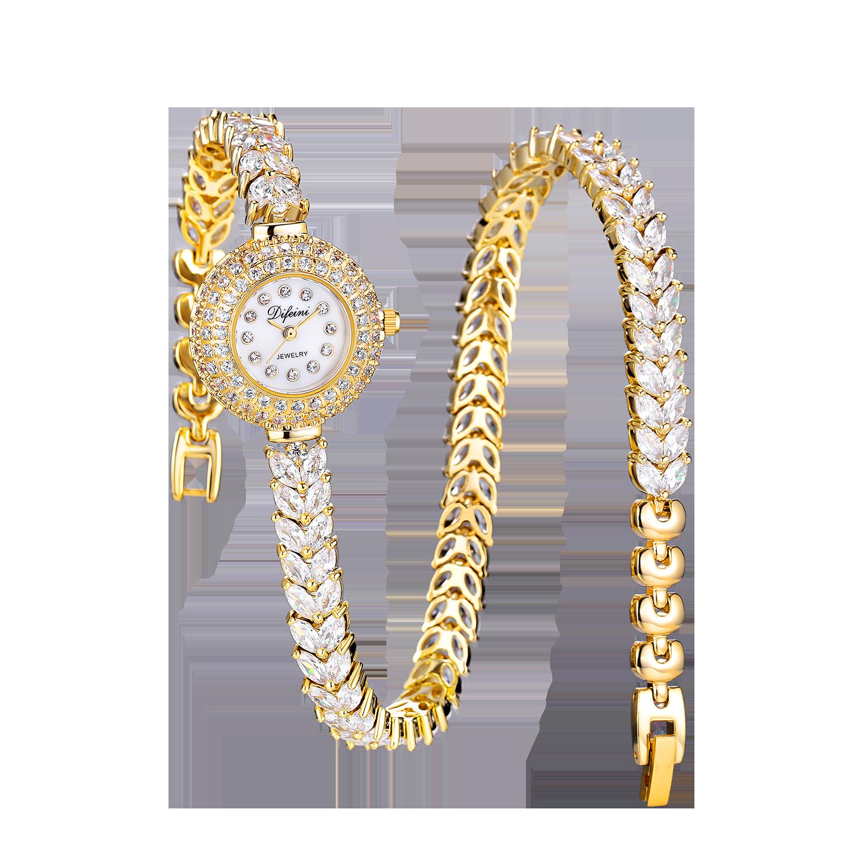 Модные Повседневные золотые часы двойняшки, кварцевые женские часы, стразы, плетеный кожаный браслет, часы, подарок, женские наручные часы