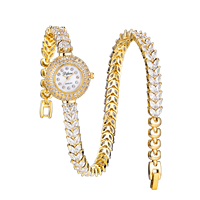 Fashion Casual Gold Twinning Watch Quartz Women Rhinestone Watch Braided Leather Bracelet Watch Gift Ladies Wristwatch