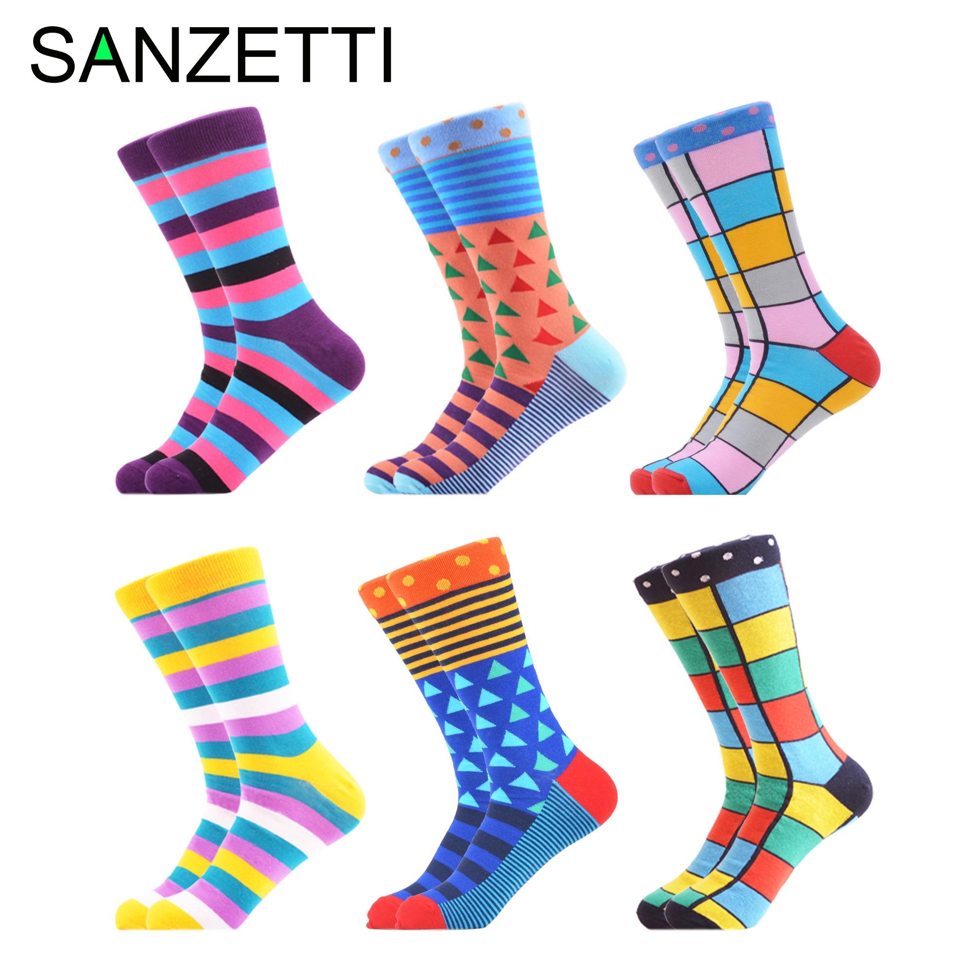 SANZETTI 6 Pairs/Lot Men's Hot Sale Casual Combed Cotton Socks Striped Soft Worn Dress Comfortable Wedding Gift Creative Socks