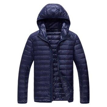 2019 marque qualité ultraléger blanc duvet de canard manteau hommes solide coupe mince à capuche canard doudoune hommes hiver chaud hommes vestes