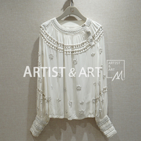 Svoryxiu 2020 High End Custom Summer Cotton White Blouse Shirt Women's Manual Shell Beaded Lantern Sleeve Blouse Tops