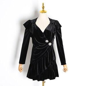 Image 5 - TWOTWINSTYLE zarif Patchwork elmas fırfır elbise kadın V boyun uzun kollu yüksek bel elbiseler kadın 2020 sonbahar moda