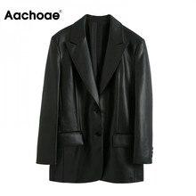 Blazer Women Faux-Leather Aachoae Coat Pockets Long-Sleeve-Jacket Black Single-Breasted