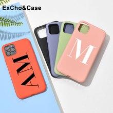 Custom Name Initial letter Diy Phone Case For iphone SE  6 6S 7 8 Plus X XS XR XS Max 11 Pro 12 Mini MAX Liquid Silicone Case