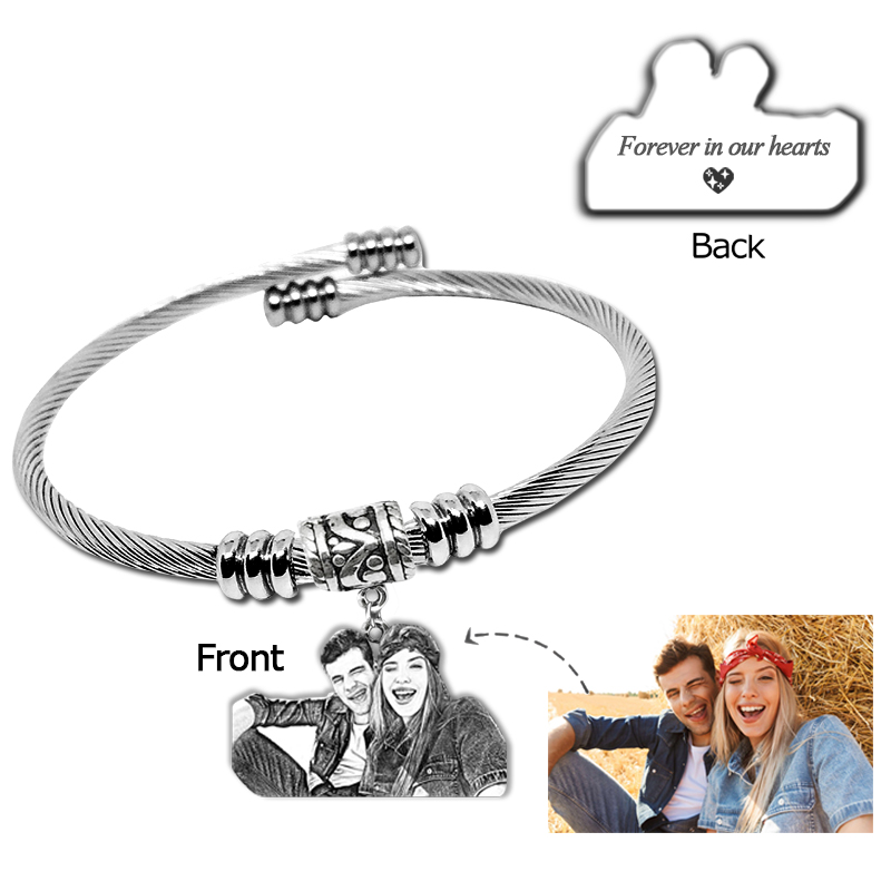 Personalized People Photo Bracelets 925 Silver Pendant Open Bangles Engrave Words Bracelet Women Men Jewelry Memorial Best Gift