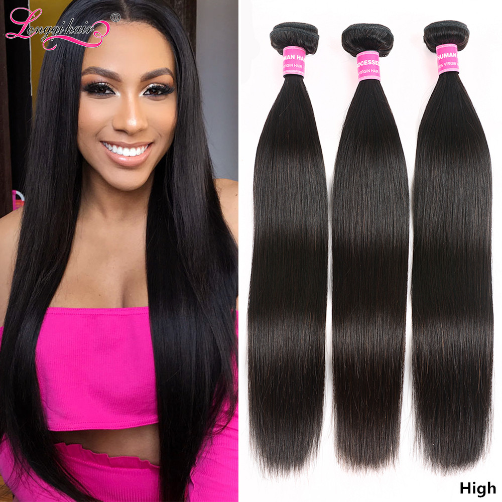 Longqi Straight Hair Bundles Natural Human Hair Extensions Remy Brazilian Hair Weaves Bundles 8 - 30 Inch 1 3 4 Bundles Deal