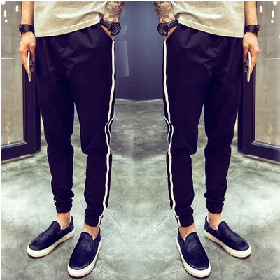 2019 Summer Men Casual Capri Pants Skinny Pants Slim Fit Ankle Banded Pants Fashion Man Korean-style Two Bars Athletic Pants Men