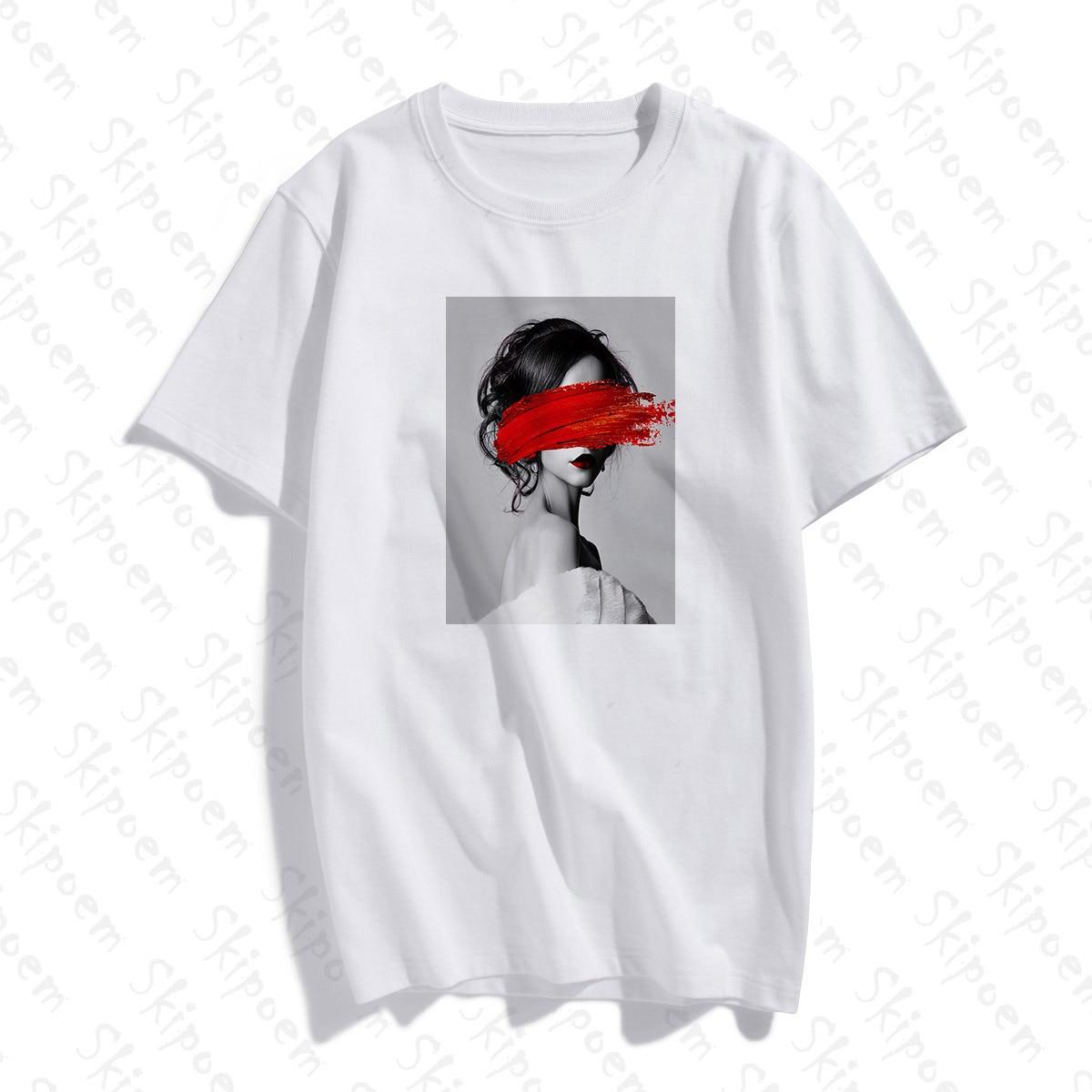 Fashion Lovely Personality Woman Nordic Vintage Art T Shirt Women Punk Harajuku Short Sleeve Cotton Plus Size Streetwear Clothes