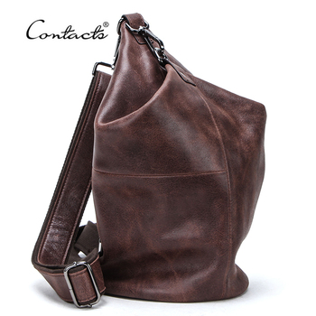 CONTACT'S 100% Genuine Leather Crossbody Bag for Men Large Capacity Shoulder Messenger Bags Male Casual Chest Bag Pack Bolsos men bag genuine leather chest bag famous brand chest shoulder messenger bags casual vintage sling back pack of the
