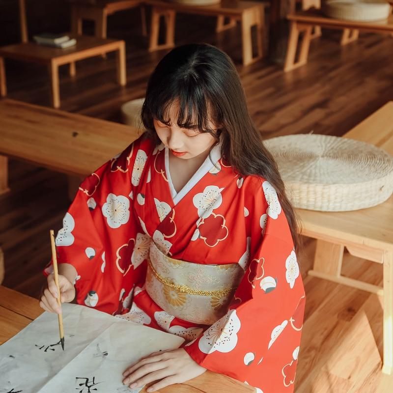 Japanese Traditional Kimono Harajuku Geta Clogs Haori Long Robes Yukata Ao Dai Dress Anime Cosplay Costumes Wooden Shoes Sandals