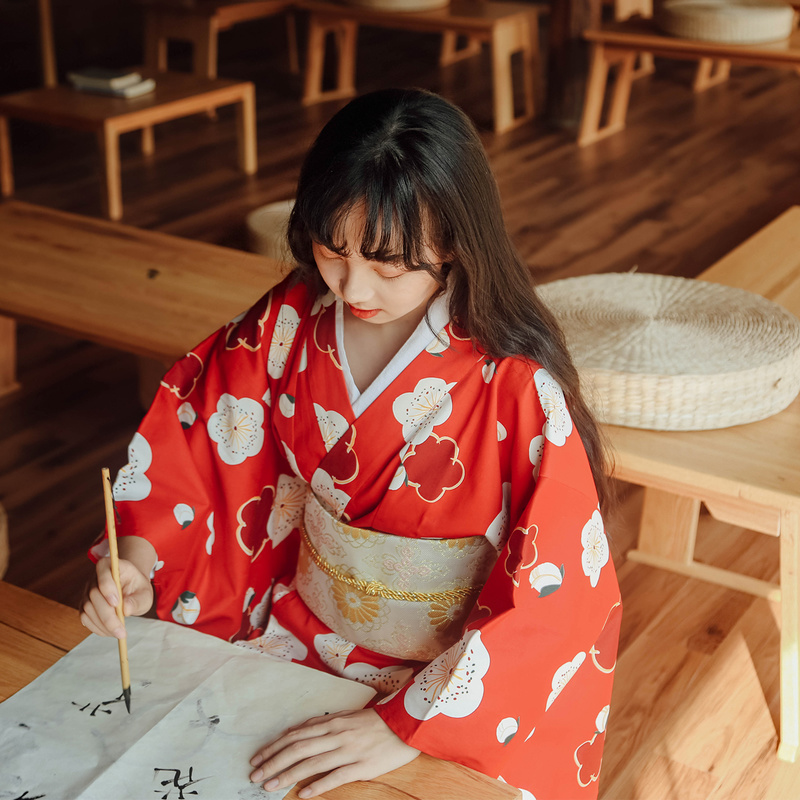 Japanischen Traditionellen Kimono Harajuku Geta Clogs Haori Lange Roben Yukata Ao Dai Kleid Anime Cosplay Kostüme Holz Schuhe Sandalen