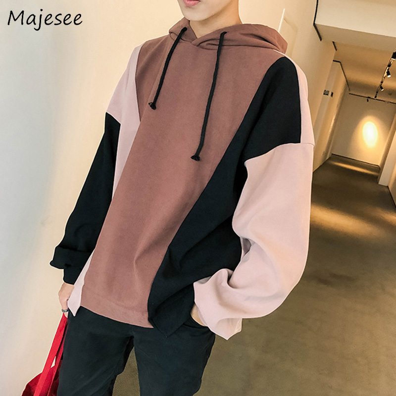 Hoodies Men Hooded Plus Velvet Leisure Letter Printed Sweatshirts Mens Patchwork Korean Style Ulzzang Trendy Students Pullovers