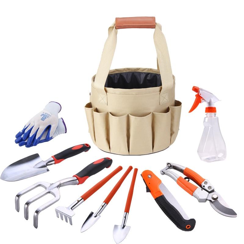 10PCS/Set Garden Kit Gloves Pruner Rake Fork Spade Shovel Trowel Knife Water Spray Bottle Garden Tool Set With Bucket Bag