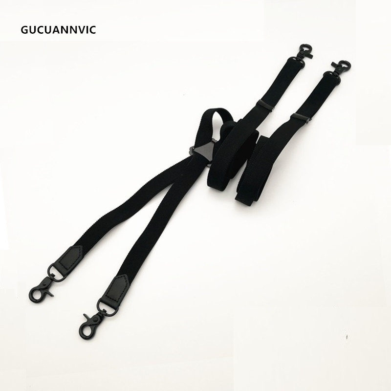 Black 4 Hook Elastic Suspender Belt Men And Women Shoulder Strap Casual X Type Black Four Hook Back Bandwidth 2 Cm