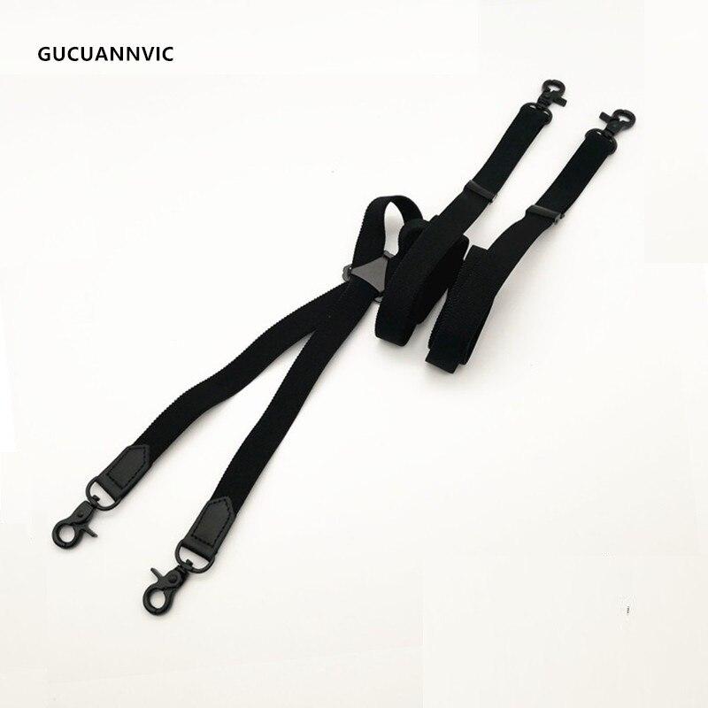 Black 4 Hook Elastic Suspender Belt Men And Women Shoulder Strap Casual X Type Black Four Hook Back Bandwidth 2 Cm