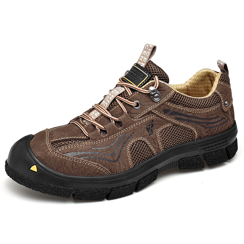Men's Hiking Shoes High quality Genuine Leather & Breathable Air Mesh Comfortable Sport Shoes Climbing Outdoor Hiking Shoes