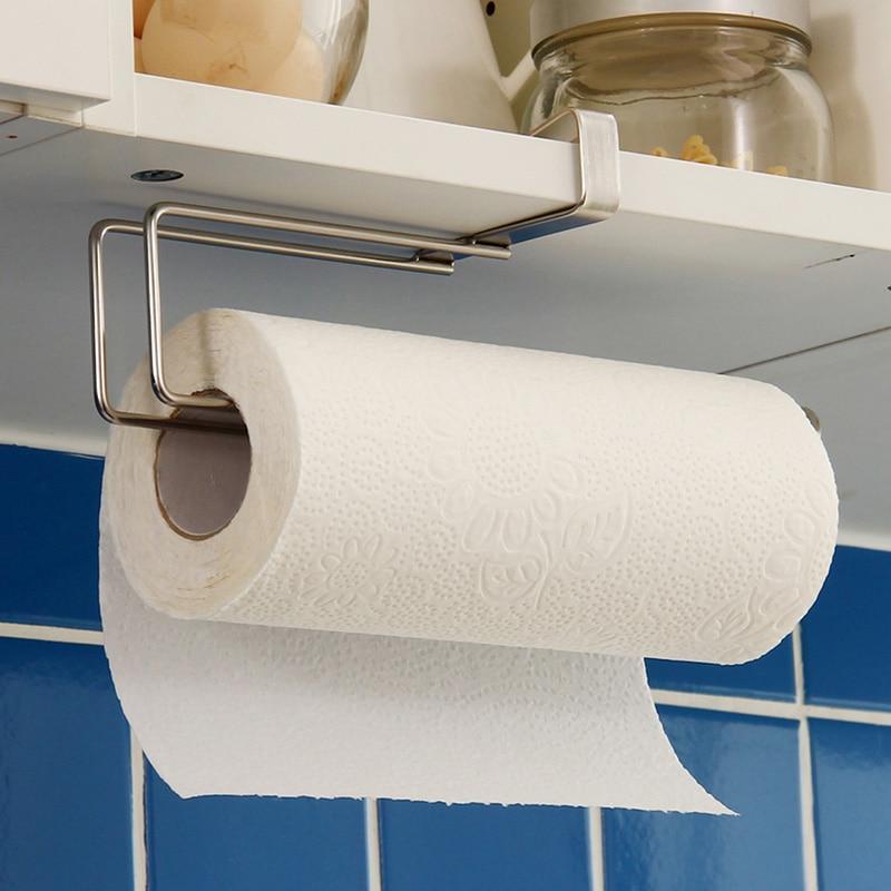 Kitchen Paper Holder Hanger Tissue Roll Towel Rail Bathroom Sink Organizer For Hanging On The Door Storage Hook   WJ112010