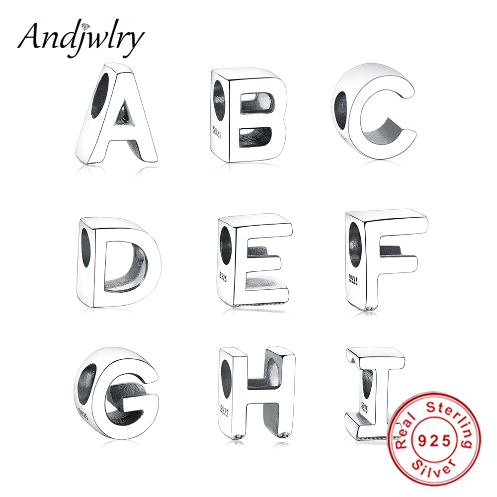 Fit Pandora Charms Bracelet 925 Sterling Silver Original Charms A to Z Alphabet Letter Bead DIY Jewelry Making DIY Berloque(China)