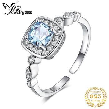 JewelryPalace 1ct Genuine Blue Topaz Ring 925 Sterling Silver Rings for Women Halo Engagement Gemstones Jewelry