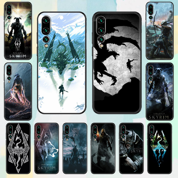 Game The Elder Scrolls Skyrim Phone case For Huawei P Mate P10 P20 P30 P40 10 20 Smart Z Pro Lite 2019 black silicone back image