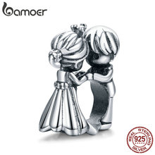 bamoer wedding Metal Beads for Women Jewelry Making 925 Sterling Silver wedding love Silver Charm SCC1565