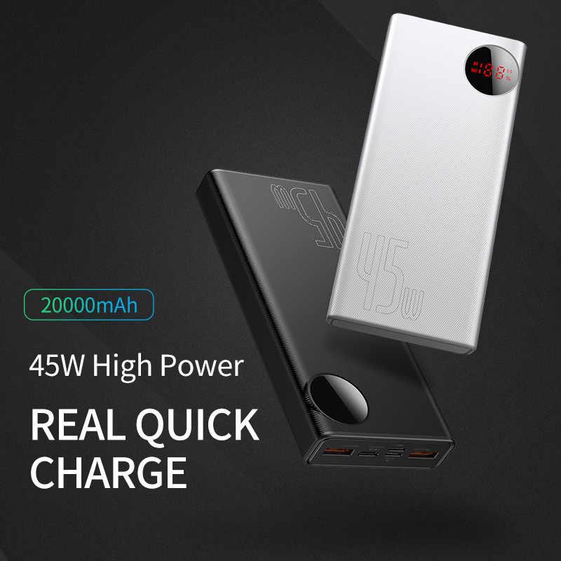Baseus 20000 mAh hızlı şarj güç bankası PD 45W 20000 mAh Powerbank taşınabilir harici pil şarj iPhone Xiaomi mi Huawei