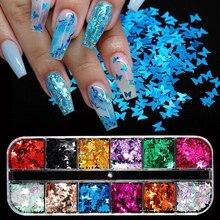 Borboleta holográfica flocos de arte do prego glitter sparkly 3d laser borboleta lantejoulas dicas diy polonês unhas arte decorações manicure