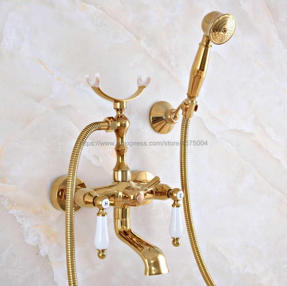 Do kąpieli kran wannowy s złoty kolor mosiądz do montażu na ścianie telefon Euro do kąpieli kran wannowy Mixer Tap w/ręczny sprayu prysznic Nna910