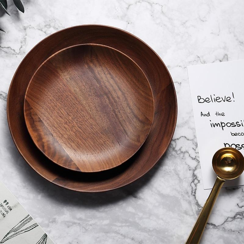 Dia 15cm 20cm Wood Dish Plates Premium Black Walnut Wooden Tableware Dishes Round Cake Dessert Serving Plate Kitchen Utensils (6)
