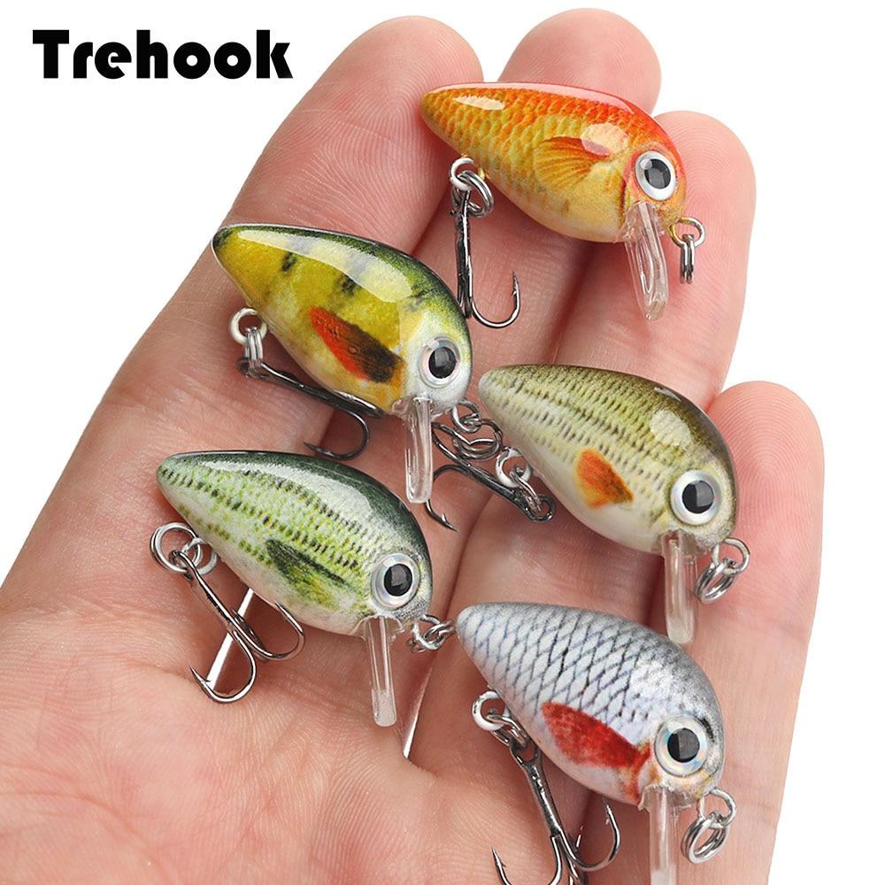 TREHOOK 5pcs 1.5g 3cm Mini Wobblers/Crankbait Fishing Lure Artificial Bait Hard Floating Wobbler For Fish Bass Fishing Tackle